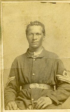 """First Sergeant William A. Messley (also Measley), Company C, 62nd United States Colored Troops (formerly known as the 1st Regiment Colored Infantry, Missouri Volunteers). """"1st Sergt William Messley, Glasgow, Missouri"""" is written on the back of the photo. William Messley died on December 18, 1916."""