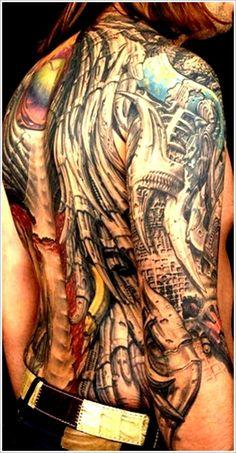 Cool Bio-mechanical Tattoo designs: Full Back Biomechanical Tattoo Design For Men ~ Tattoo Design Inspiration