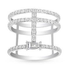 apm Monaco Croisette Sterling Silver Swarovski Zirconia Stretch Clear Ring - Size N