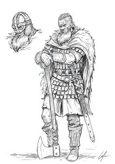 How To Draw a Viking . Easy To Follow Step By Step Tutorial Tatto Viking, Viking Tattoos, Warrior Tattoos, Viking Drawings, Viking Character, Warrior Drawing, Viking Warrior, Viking Woman, Norse Vikings
