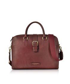 The Bridge Burgundy Leather Double Handle Briefcase W/detachable Shoulder Strap Dark Brown Leather, Smooth Leather, Leather Briefcase, Shoulder Strap, Shoulder Bags, Travel Bags, Dust Bag, Burgundy, Mens Fashion