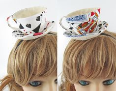 Teacup Fascinator-Playing cards---15 POUNDS designed by Miwa Vicary in London, found on Folksy