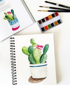 """Gefällt 134 Mal, 8 Kommentare - Valentina (@wherecolortakesme) auf Instagram: """"Day 12 of #everydaywatercolor - I think it took me longer to figure out how I wanted the cactus pot…"""""""