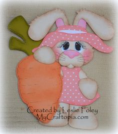 Bunny Easter Carrot Premade Scrapbooking by MyCraftopia on Etsy, $5.95