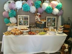 Baby shower food table, rustic baby shower