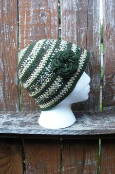 Camo stripes mulitcolor crochet beanie with crochet by luvbuzz,