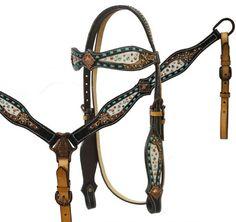 Teal Buckstitched Dark Oil Leather Western Horse Bridle & Breast Collar Set      | eBay