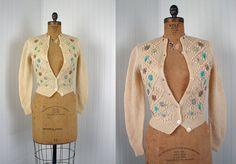1950s Sweater  Vintage 50s Hand Knit Wool Cardigan by jumblelaya, $52.00