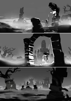 ArtStation - Albion Online: Lands of the Undead Artwork, Johannes Figlhuber Environment Sketch, Environment Design, Landscape Drawings, Landscape Art, Landscapes, Landscape Concept, Composition Design, Digital Painting Tutorials, Animation Background