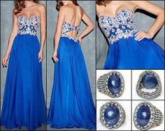 long silver-blue evening dress