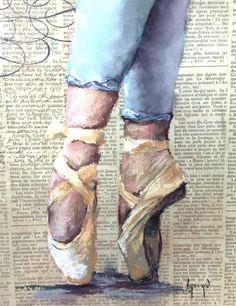 Ballet Slippers original fine art by Anne Marie Propst