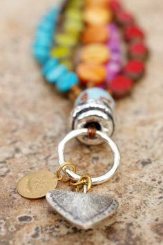 Passion Heart Charm Bracelet: Artisan Multi-Strand Passion-Filled Colorful Silver Heart Charm Bracelet