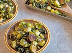 Roasted Kale and Brussels Sprouts