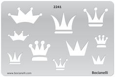 Plastic Stencil Template for Graphical Design Drawing Drafting Jewellery Making - Crown Crowns King Queen Prince Princess