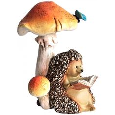 Hedgehog Reading Book Under Mushroom - Top Collection Enchanted Story Fairy Garden - Fairy Animals - FAIRY GARDENS - GIFTS