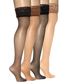 Hanes Sheer Lace Top Thigh Highs Hosiery 0A444 | macys.com