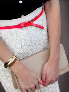white skirt plus neon belt