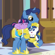 Twilight Sparkle and Shining Armor with their dad