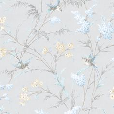 Hailey Grey & Blue Floral Birds Glitter Highlight Wallpaper | Departments | DIY at B&Q