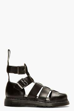 DR. MARTENS Black Leather Geraldo Sandals