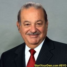 """Carlos Slim Helú is a Mexican business magnate, investor, and philanthropist. From 2010 to 2013, Slim was ranked as the richest person in the world. Known as the """"Warren Buffett of Mexico""""As of 3 November 2015 he was #2 on Forbes list of billionaires, with the net worth estimated at $63.5 billion.  #StartYourOwn #SYO #business #CarlosSlim #investor #rich #philanthropist #billionaire #richlife #entrepreneur"""