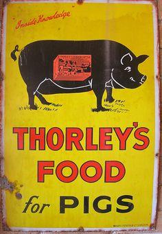 vintage advertising signs | ... advertising sign - Original antique enamel sign for Thorleys Pig Foods