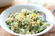 Spring Grain Salad with Mango Sprouts & Creamy Avocado Dressing
