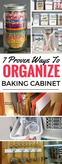 7 Insanely Awesome Baking Cabinet Organization And Storage Ideas - Learn how to effectively organize your baking cabinets so that you can get it in order and have more space. These organization ideas and hacks for the home will save you tons of time and money too!