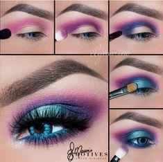 Electric, neon, turquoise, blue, purple, pink, eye makeup #motivescosmetics #blueeyemakeup
