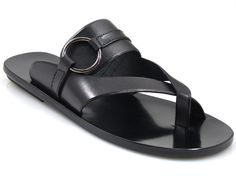 Davinci Men's 2396 Italian Leather sandals Push In Toe Black #Davinci #sandals