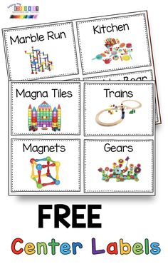 Preschool — Keeping My Kiddo Busy FREE Center Labels - Math and Literacy centers for preschool pre-k and kindergarten - play centers - print and display so students can clean up and stay organized - playroom and toy label freebies Preschool Labels, Preschool Classroom Setup, Preschool Rooms, Kindergarten Centers, Free Preschool, Preschool Activities, Kindergarten Labels, Preschool Center Signs, Kindergarten Literacy Centers