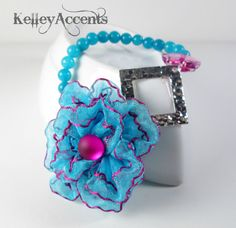 Bright Blue Flower Women's Bracelet by KelleyAccents on Etsy, $20.00