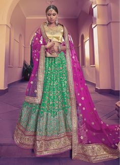 Wedding Hot Pink and Green Designer Lehenga Choli