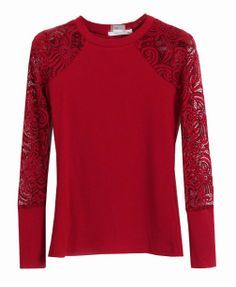 Hollow Out Lace Sleeves Round Neckline T-shirt