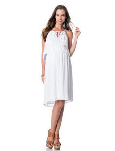 Splendid A Pea in the Pod White Sleeveless Tie Front Maternity Dress