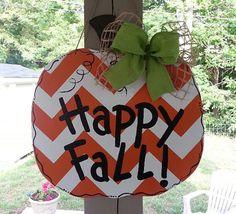 Pumpkin door hanger fall door decoration by Thepolkadotteddoor