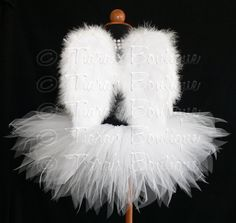 "Angel Tutu Costume - 8"" Tutu and Angel Wings - For Girls, Babies, Toddlers - Valentine's Day"