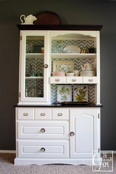 My first furniture redo - painted china cabinet!