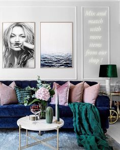 blue velvet sofa pink velvet cushion blue, emerald green and pastel blush pink and gold accents kate moss life is a joke ocean minimalist print scandinavian trendy posters scandinavian trendy wall art ceramic cactus decor marble table h&m emerald green fr Blue Couch Living Room, Glam Living Room, Blue And Pink Living Room, Living Room Ideas Velvet, Jewel Tone Living Room Ideas, Blue Living Room Furniture, Pink Living Rooms, Art For Living Room, Jewel Tone Decor
