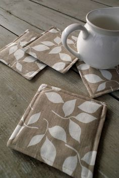 fabric coasters. OMG these would be wonderful for all the wood furniture we have!