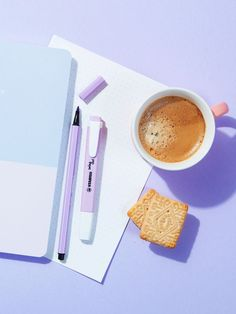 A cup of Little's coffee will perk you up ready to get back to school or college with a fresh new stationery haul. Biscuits essential, of course. Pastel product photography and food styling