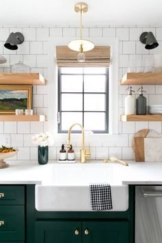 rich green cabinets, square white subway tile