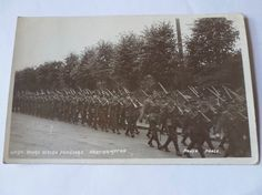 RWF Troops from Welsh Division on route march in Northampton area. World War One, North Wales, Welsh, Troops, Division, March, Outdoor, World War I, Outdoors