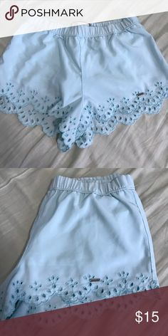 Light blue shorts w/ cutouts These shorts are super cute for summer. They're from Abercrombie I tagged brandy for exposure purposes. They're a size XL In youth so they can fit a women's XS/S. they're also stretchy and a good length Brandy Melville Shorts