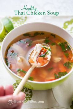 Healthy thai chicken soup recipe made from leftover chicken breast. Healthy, easy thai chicken soup recipe without coconut milk. - Coconut About Hot And Sour Chicken Soup Recipe, Chicken Soup Recipes, Healthy Chicken Recipes, Easy Healthy Recipes, Asian Recipes, Healthy Soups, Thai Recipes, Healthy Food, Coconut Milk Soup Thai