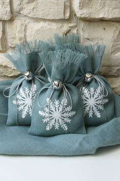 Custom listing for Nichollette. Burlap Gift Bags, Snowflake, Shabby Chic Christmas Wrapping, Silver Jingle Bell Tie On, 25 Bags.: