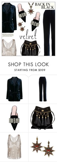 """""""Back In Black"""" by shoaleh-nia ❤ liked on Polyvore featuring Alberta Ferretti, Miu Miu and H&M"""