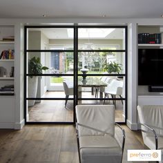 Steel sliding door in living room Interior Sliding French Doors, Interior Barn Doors, Internal Sliding Doors, Green Interior Design, Modern Interior, Contemporary Doors, Interior Design Living Room, Home And Living, New Homes