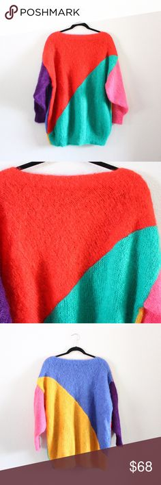 Anne Flynn Color Block Sweater This is a gorgeous vintage sweater!! The vibrant colors make it such a fun piece to wear!! Perfect for slightly cooler weather!! ❤️ Anne Flynn Sweaters Crew & Scoop Necks