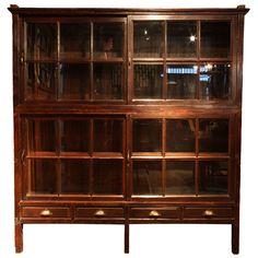 british colonial bookcase with sliding door - burma - c1900 - height: 6 ft. 7 in. (201 cm)  depth: 16 in. (41 cm)  width/length: 6 ft. 3 in. (190 cm) - via the golden triangle, dealer ref. : 10T05007  ref. : U1211168864619 - 7,500 usd